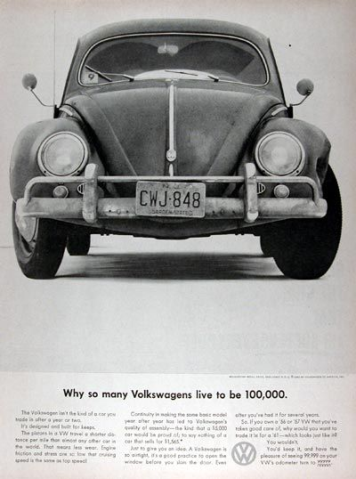1960 Volkswagen Beetle original vintage ad. Why so many Volkswagens live to be 100,000. The pistons in a VW travel a shorter distance per mile than almost any other car in the world. That means less wear. Continuity in making the same basic model year after year has led to VW's quality of assembly, the kind that a $5,000 car would be proud of; to say nothing of a car that sells for $1,565.
