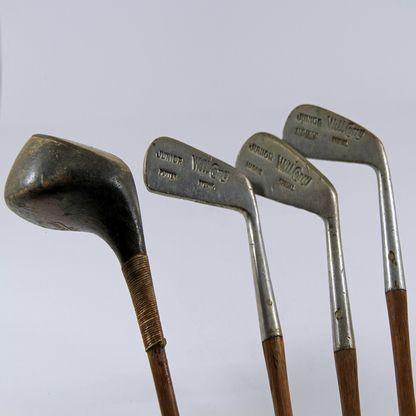 Child's Hickory Golf Set - Original set of 4 - Will Corry Juniors - circa 1930's - 4 sticks - mashie - mid iron - putter - driver - original hickory shafts - original leather & canvas golf clubs' bag.