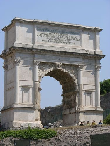 Ancient Rome. Arch of Titus in the Roman Forum, commemorating the sack of Jerusalem, Rome