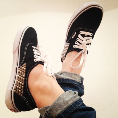 Step up your shoe game in these custom studded sneaks from the #NYLONshop! Buy your pair HERE: http://shop.nylonmag.com/products/studded-vans