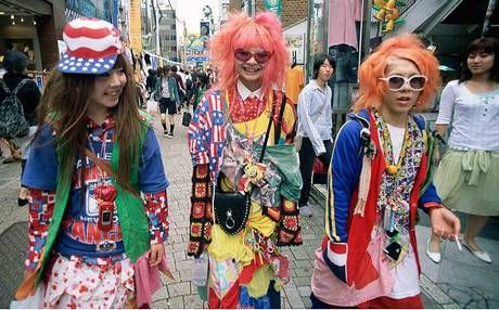 Crowds of rainbow-bright teenage tribes in the Harajuku district