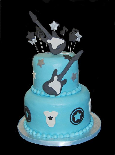 Blue and Black rock star baby shower cake by Simply Sweets, via Flickr Perfect for Grayson's 3rd Bday