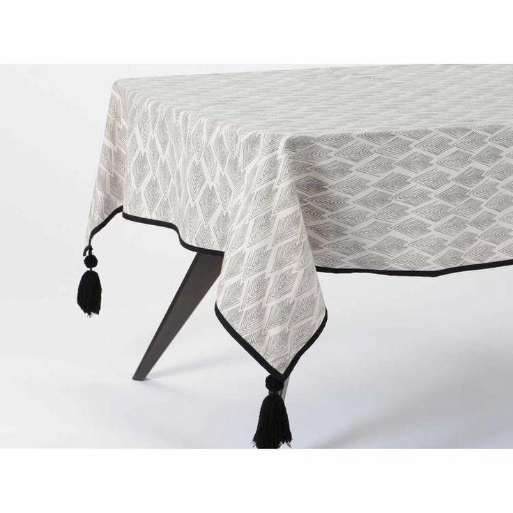 Nappe coton motif losange ethnique gris/blanc brodure contrastée pompons OMBREE 150x250cm