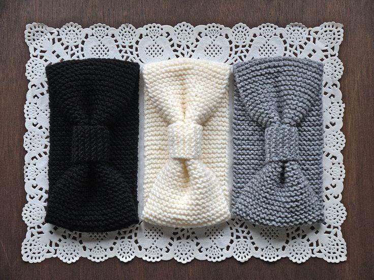 Turban Knitted Headband, Black Knit Headband, Gray Knit Head Wrap, White Knitted Ear Warmer, Turband Knit Hat Hair Wrap - pinned by pin4etsy.com