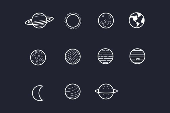 11 Solar System Planet Icons by Creative VIP on @creativemarket