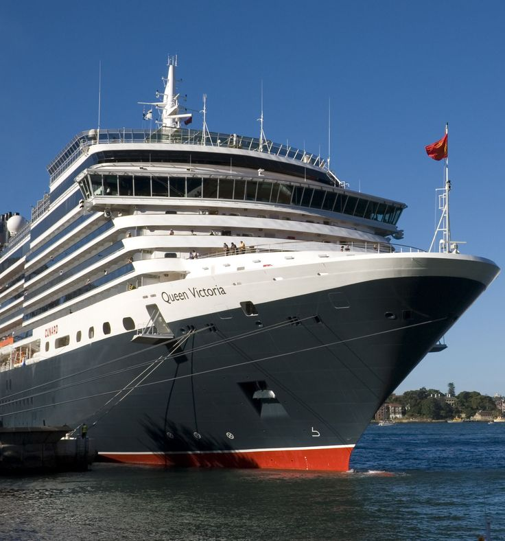 Queen Victoria of the cunard ship fleet docked in the harbour, Sydney
