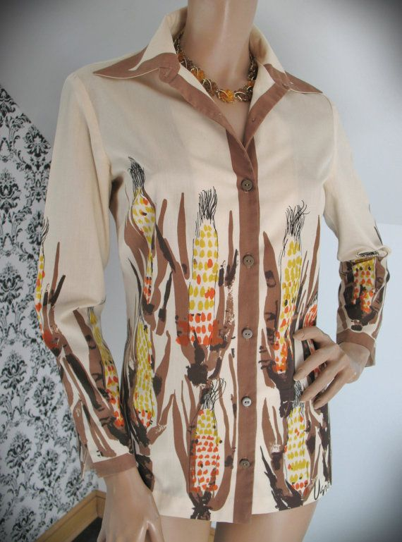 Vintage Corn Cob Motif Blouse. They don't make clothing like this anymore!