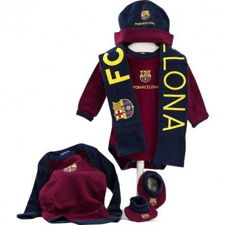 Cesta F. Club Barcelona 2 - canastilla para bebe del fútbol Club Barcelona con productos y ropa de bebe de licencia Oficial del Club Blaugrana - Envíos a toda España