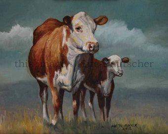 Hereford Cow Art painting Print of my watercolor by rachelsstudio