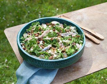 Salade van krulandijvie met West-Vlaamse gerookte sprot, Hoeveschapenkaas uit de Vlaamse Ardennen en een stroop-mosterd sausje