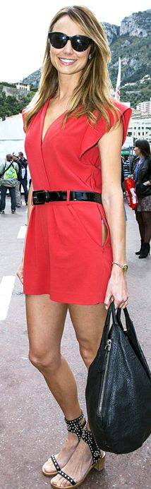 Red romper and black sandals