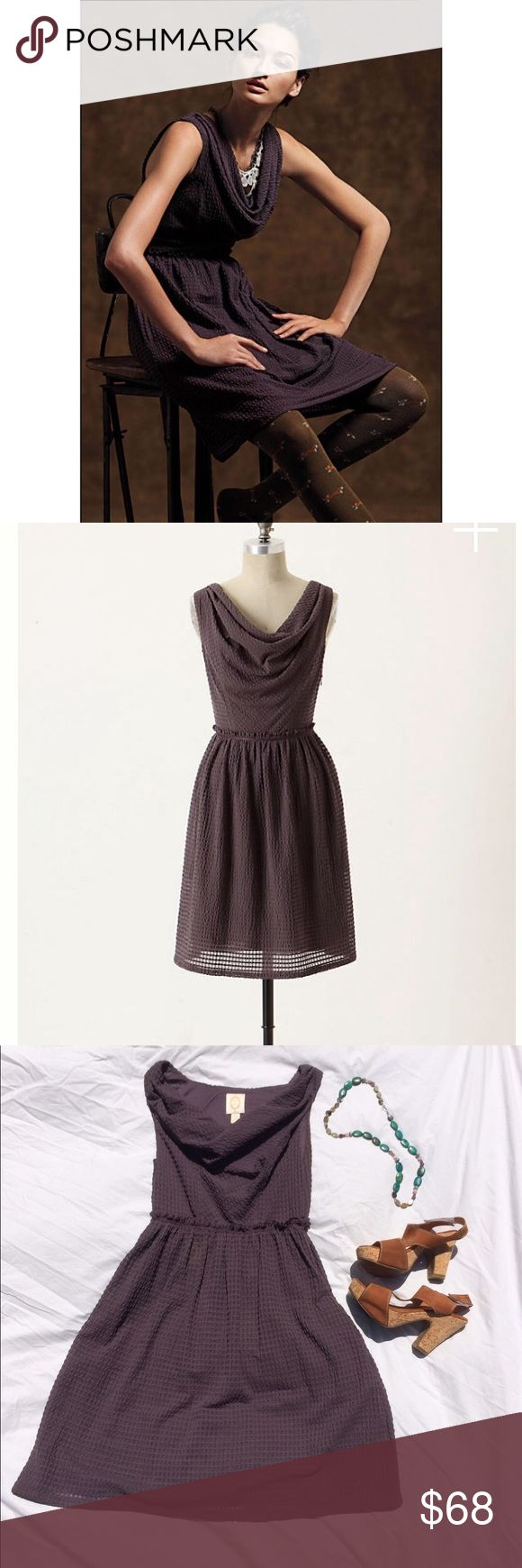 Anthropologie waffle weave cowl neck dress anthropologie ric Rac dress size xs. Has amazing cowl neck and side zip. This flattering fitted bodice is in a plum color. Anthropologie Dresses