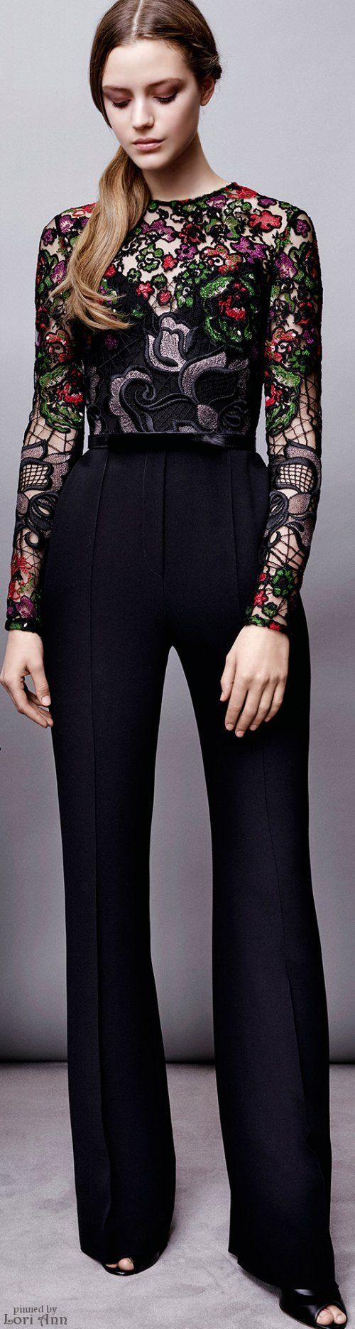 Elie Saab Pre-Fall 2015/love the pants,but the shirt is a little out there...maybe just black lace instead