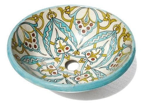 Antique moroccan pottery sink vessel