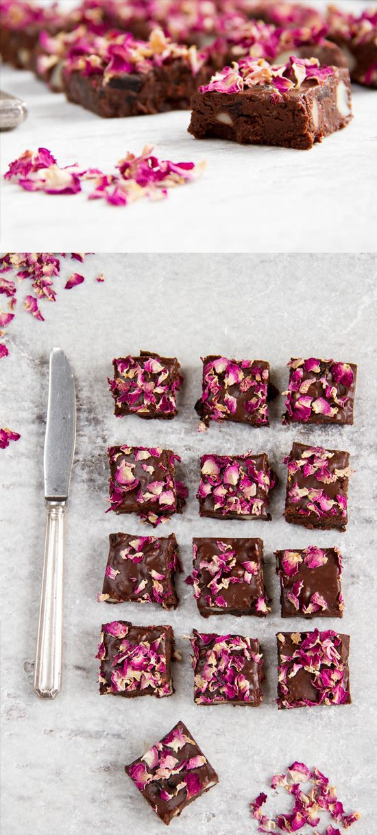 Rosey Rocky Road - a rich, fudgey, raw vegan version of rocky road, made with sour cherries, macadamia nuts and rose water