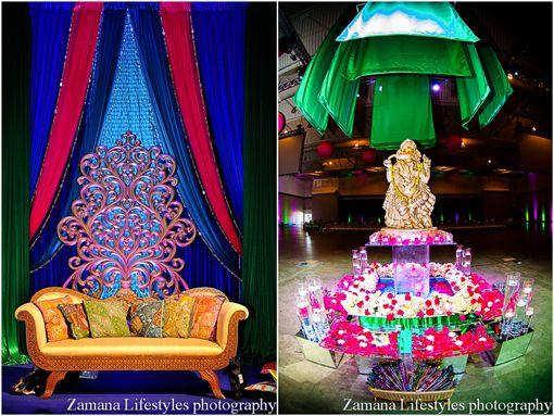 Purple, Blue and Green Sangeet in South Carolina on IndianWeddingSite.com
