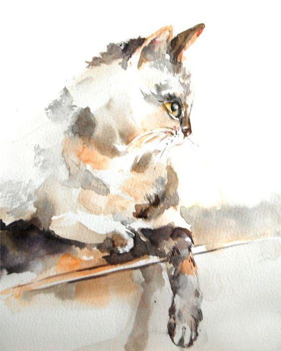 Cat Watercolor Painting Art Print - Watercolor Art - Cat Art - Brown - Wall Art: