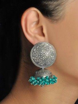 Amalgamated Turquoise Mughal Jhumkas