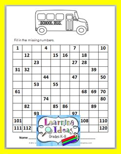 Free Back to School 120 Chart Fill-in   Today I have a free Back to School 120 Chart Fill-in for you to use with your students. Students can complete filling in the chart then color the picture.   Counting from 1-120 Worksheet  Just visit my blog post to get this chart and 2 other Back to School Worksheets that are great to use at the beginning of the school year. Just click the link below or the picture above.http://ift.tt/2c0a87K Happy School Year!