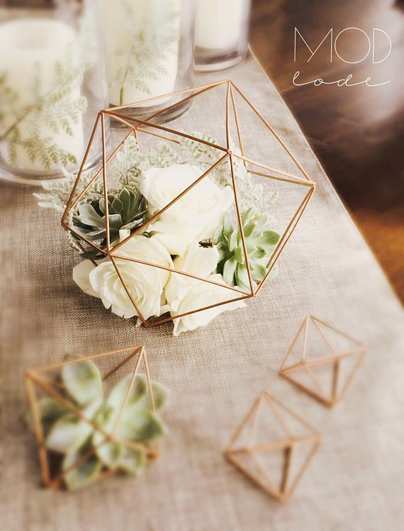 Sphere Table Centerpiece – 6″, 7.5″, 9.5″, 11″ Geometric Spheres – Wedding or Special Events – Brass/Gold, Silver, copper/rose gold, black