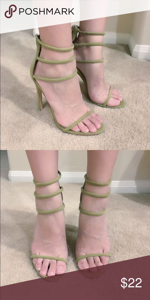 Olive green strappy heels This is a new pair of sample shoes (no shoebox), please do not purchase if you can't accept sample shoes. Thanks :) Shoes