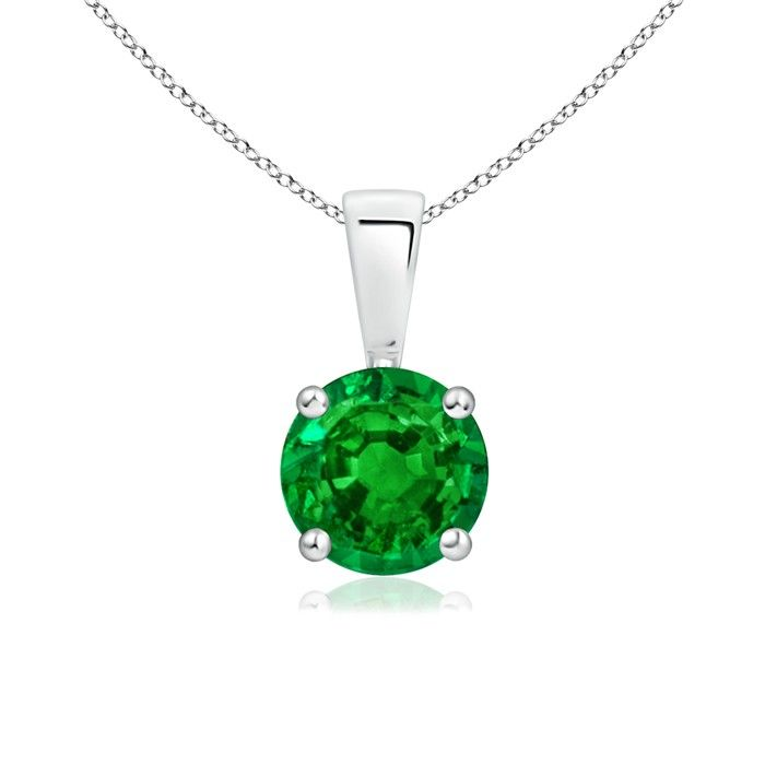 Angara Pear Shaped Emerald Necklace with Diamond Accents in White Gold fNQ0B