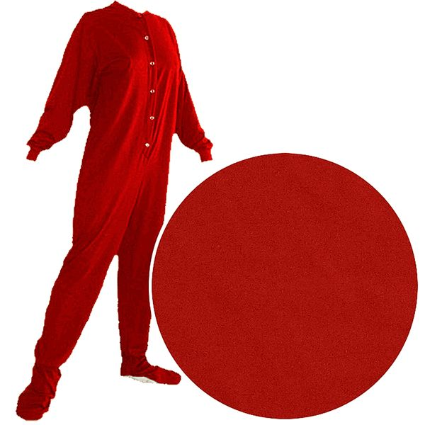 Our most popular footed pajamas for adults. Putting on a pair of these soft, cotton knit pajamas will feel like you are slipping into your favorite t-shirt. These jersey knit footed pajamas are perfect someone who wants a footed style that isn't too warm. The jersey fabric is lightweight. Fun Red Footed Pajamas for Men and Women! 100% cotton knit fabric Soft as your favorite t-shirt Buttons up the front Drop seat, secures with Velcro Non-skid soles Big Feet PJs brand These pajamas fit both…