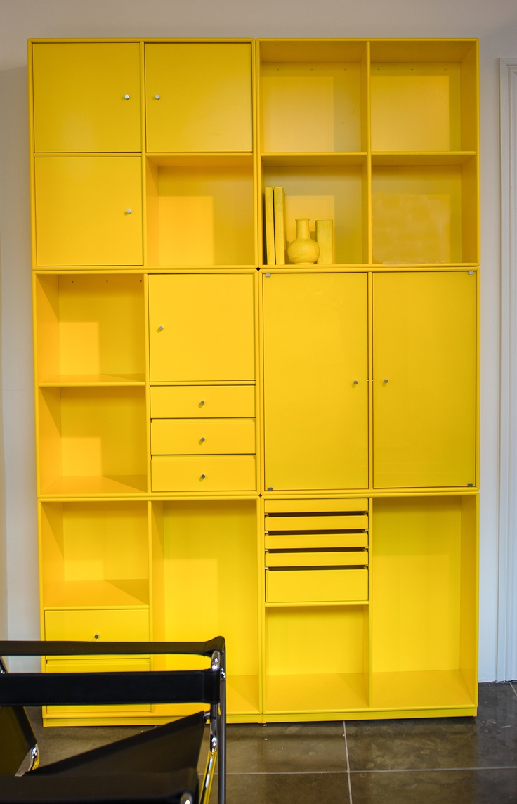 Alternative colorful storage by Montana.dk - looks like something you could DIY with IKEA's expedit & paint :)