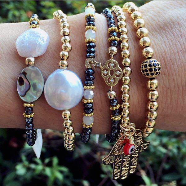 Set By Vila Veloni Gold And Black Sophisticated Bracelets