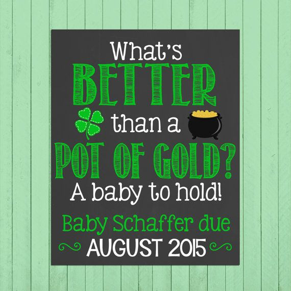 St. Patricks Day Pregnancy Announcement Chalkboard Poster Printable // Pot of Gold // Pregnancy Reveal Photo Prop // Expecting by PersonalizedChalk