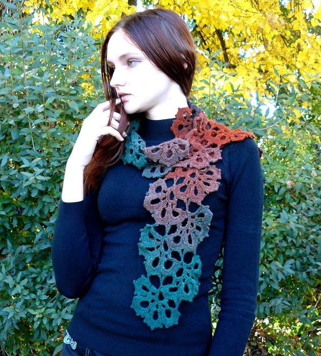 Crochet women scarf handmade Accessory gift idea ladies scarf Lace organic scarf neck wrap Valentines day gift for mom