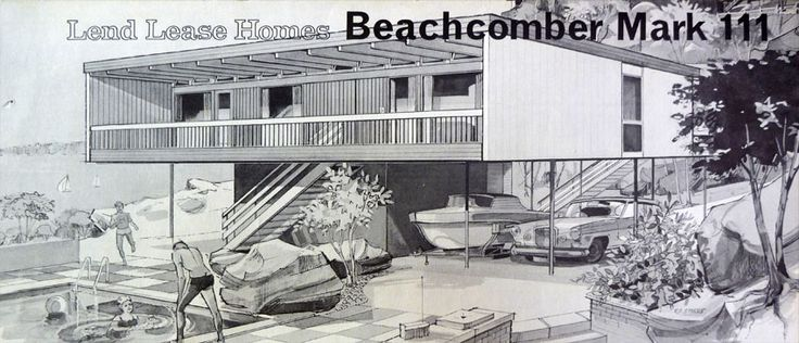 Modernist project home 'The Beachcomber 111' 1964 designed by Croatioan born Australian architect Nino Sydney for Lend Lease Homes Australia. There were around 200 Beachcombers built in the 1960s. they also inspired numerous similar structures especially in coastal locations.