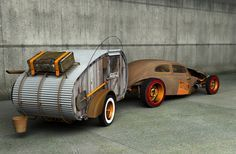 Ratrod camping!!! Oh yeah. It would really make my kids raise their eyebrows to see their old Mom take off in a rig like this. I already have the perfect bug--A 1969 beetle that has some damage on the roof, so I already plan to chop it. I like the way the back window is covered.  Love it! Love it! Love It! -CAB