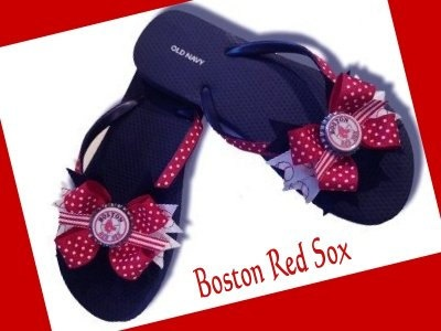 Boston Red Sox Baseball MLB Logo Ribbon Navy Blue Colored Old Navy-Brand Flip Flops Women's Size 11 Shoes, $25 via 'APricelessPrincess' on Etsy --- So thrilled that they offer these in my big-foot size! Never owned a pair of Old Navy brand flip flops, so I should definitely try them out before I go ahead and buy this custom order. FYI: They're also available in white and in any size that the Old Navy brand offers! #RedSoxFansMakeBetterLovers (cc: @soxygeologist)