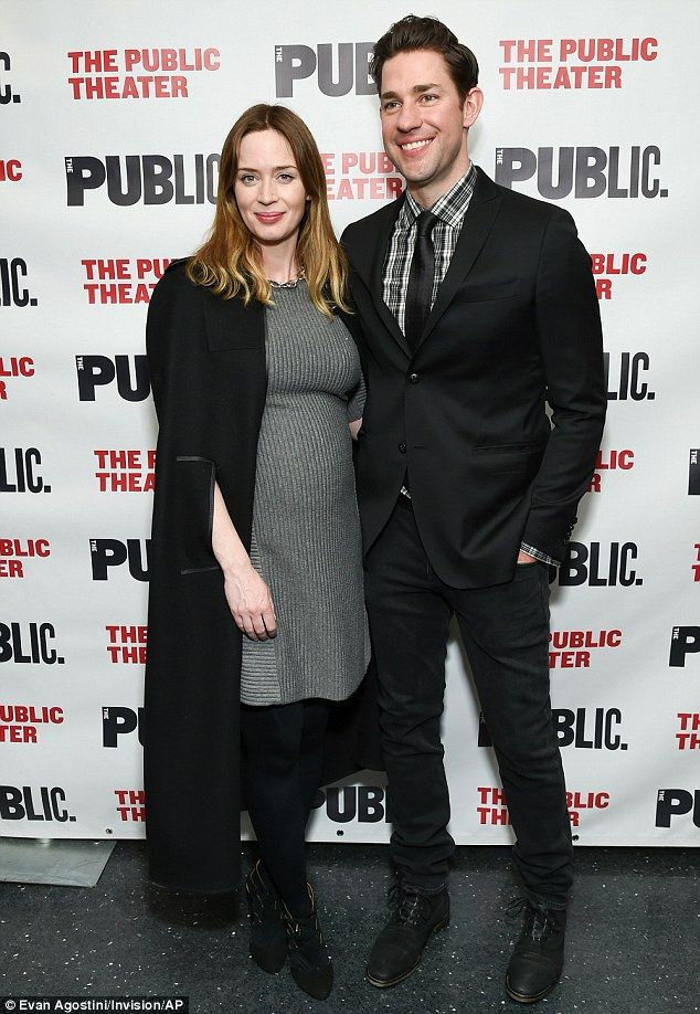 Dynamic duo: A pregnant Emily Blunt and John Krasinski looked very happy at the opening night of his Off-Broadway play Dry Powder in New York on Tuesday night, 22 March 2016