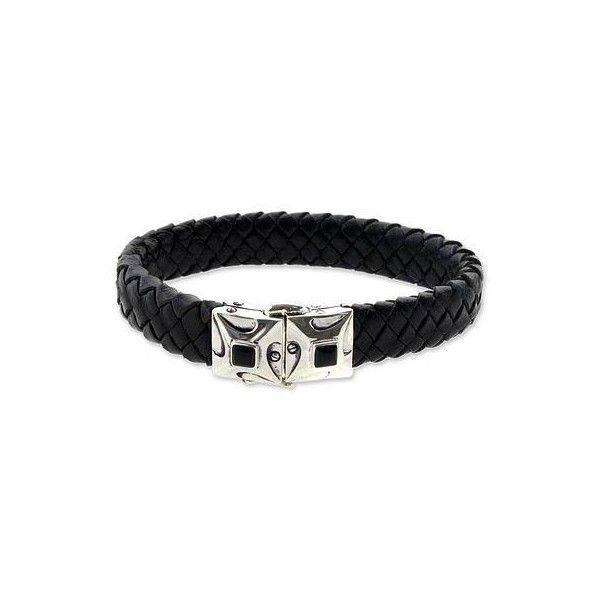 NOVICA Men's Handcrafted Leather and Onyx Bracelet (€120) ❤ liked on Polyvore featuring men's fashion, men's jewelry, men's bracelets, leather, toplevelcatbracelets, mens leather braided bracelets, mens watches jewelry, mens bracelets and mens leather bracelets