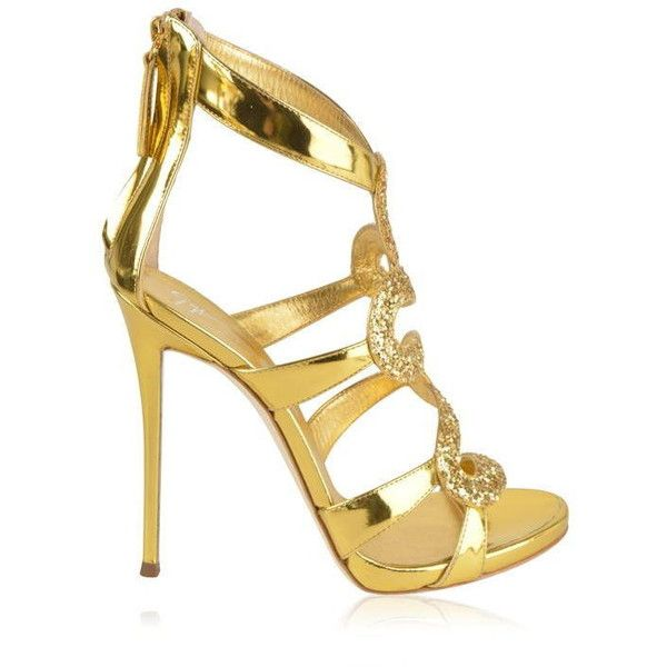 Giuseppe Zanotti Glitter Heels ($1,040) ❤ liked on Polyvore featuring shoes, pumps, heels, gold, stiletto high heel shoes, stiletto pumps, heel pump, giuseppe zanotti shoes and heels stilettos