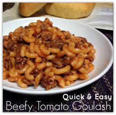 Quick and Easy Goulash Recipe! Recipe Main Dishes with lean ground beef, elbow macaroni, tomato soup, onion powder, garlic powder, salt, pepper