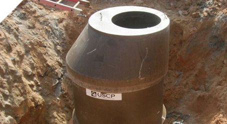 this image shows a manhole that is mostly constructed, i have used the tapered top of the manhole in my design.