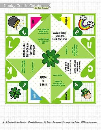 St. Patrick's Day Cootie Catcher Printable - 100 Directions