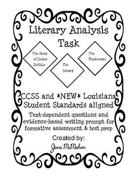 Literary Analysis Task for PARCC & LEAP 2025 | Text ...