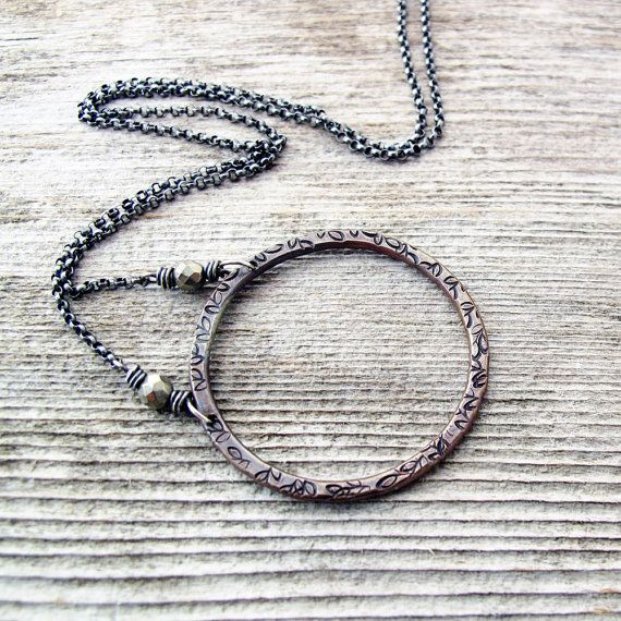 Hammered Copper Circle Necklace Pyrite Sterling by jFrancesDesign