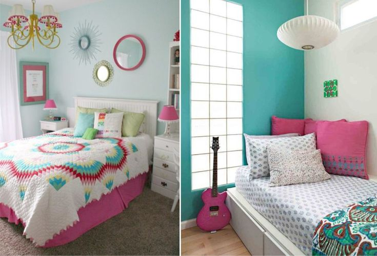 Подростковая комната в голубых тонах для девочки