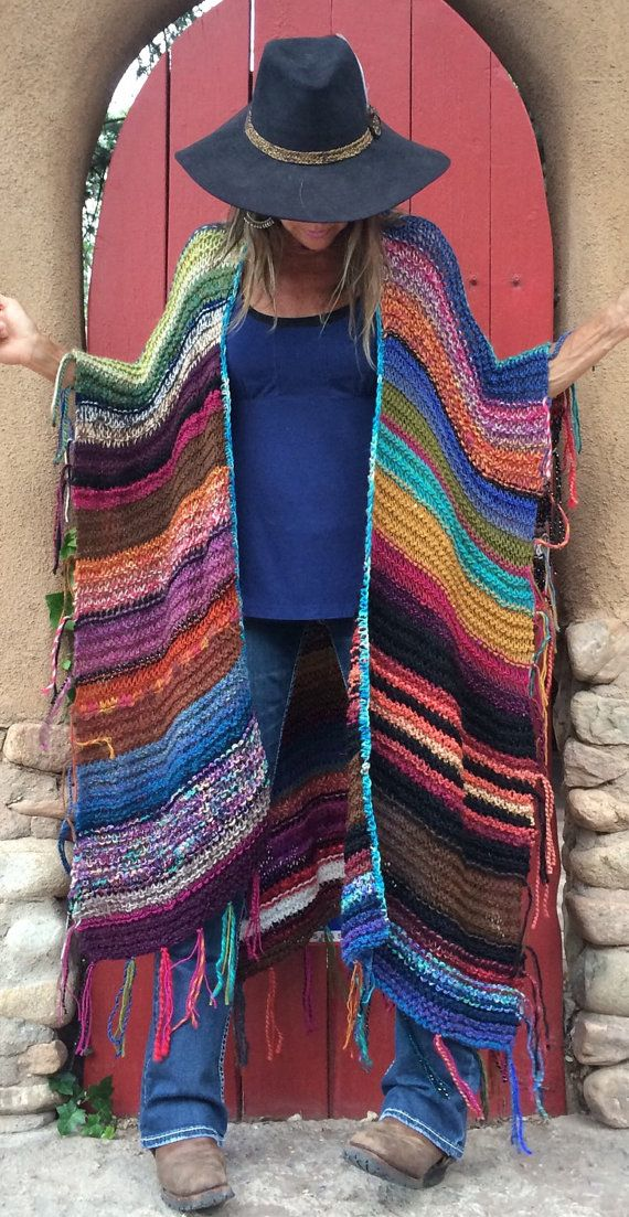 "LONG Handknit Womens Bohemian Festival  Hippie Beach Poncho Cape Shawl (""For Melanie"")"