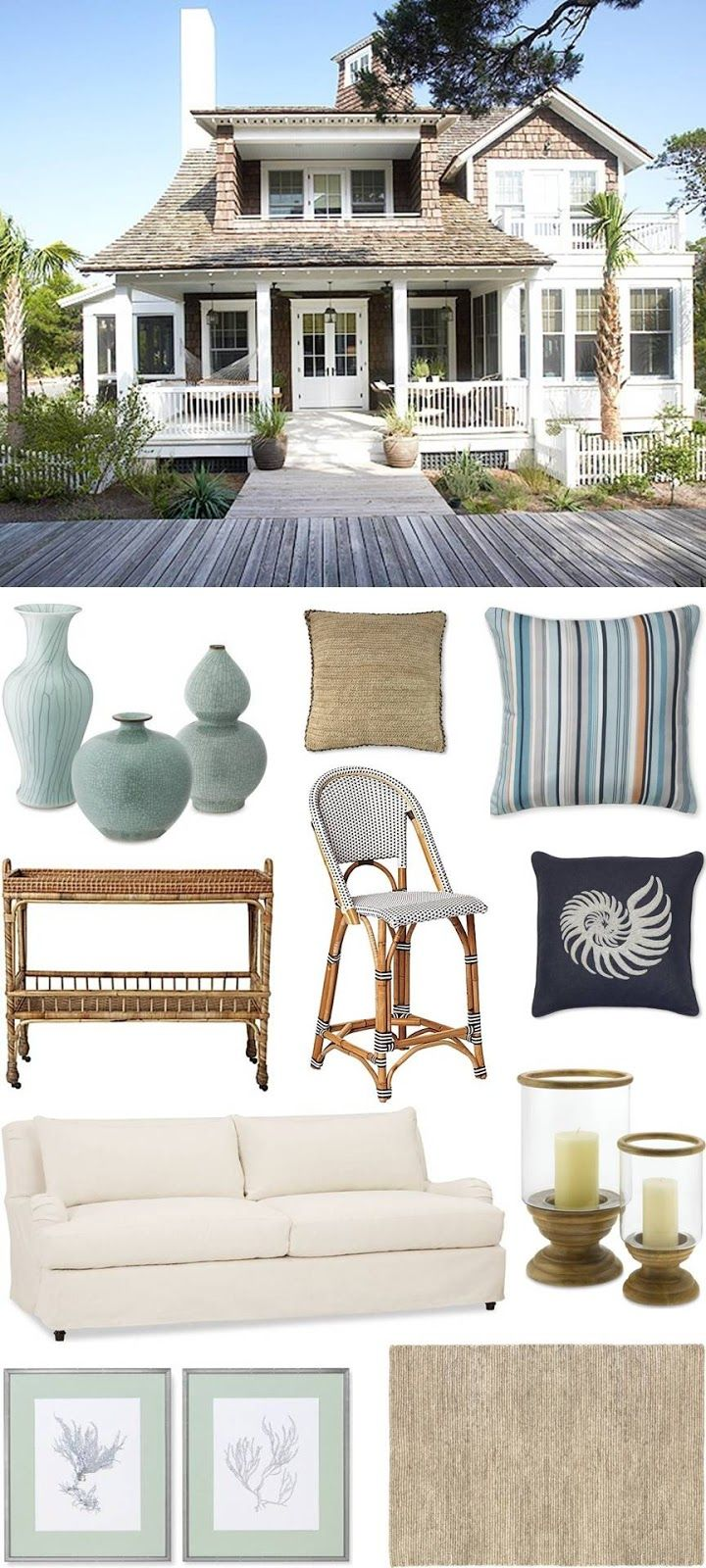 Get this Beach House Look by @chiccoastalliving, featuring our Riviera Bar Stool and South Seas Bar Cart.
