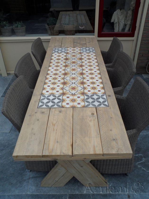 Cement Tiles Furniture - Amarillo 03 - Amarillo 05 - Circle of life Blanc - Project van Designtegels.nl