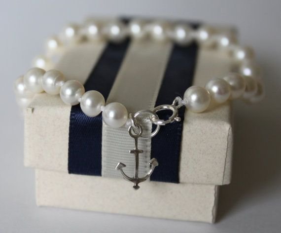 Bridesmaids bracelet,Nautical Pearl bracelet,Genuine pearls,Sterling Silver,Anchor Bracelet,beach wedding,Navy and white on Etsy, $24.00
