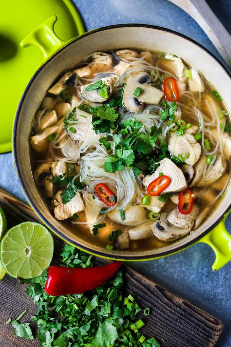 Thai Chicken Noodle Soup A steaming bowl of Thai Chicken Noodle Soup - healthy, low fat, gluten free and full of amazing Thai flavors - is just what is need to get back on track.  It's like mom's chicken noodle soup, with a twist.  Chicken stock is infused with Thai ingredients like lemongrass and ginger to create a flavorful base for the soup. -  http://www.feastingathome.com/2014/01/thai-chicken-noodle-soup.html
