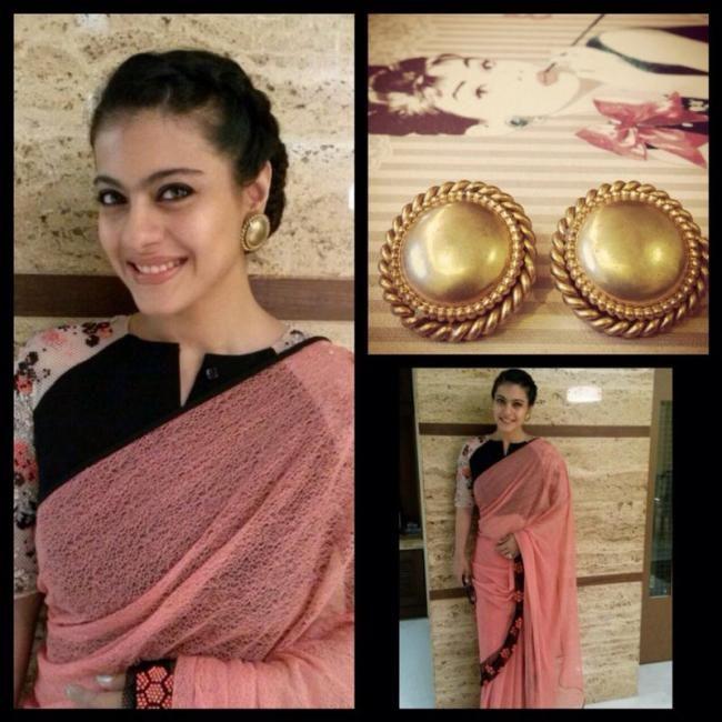 April, 14: Kajol @ Kelvinator Stree Shakti Women Achievers Award in a Saree & unusual Blouse by Ilk https://www.facebook.com/ilk.co.in/info she pairs it w/ vintage Butler & Wilson earrings from Viange.