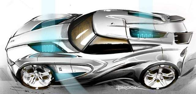 A sports car sketch by Brook Banham of Middlecott Design. Middlecott will host a sketch battle as part of the Detroit Design Festival.